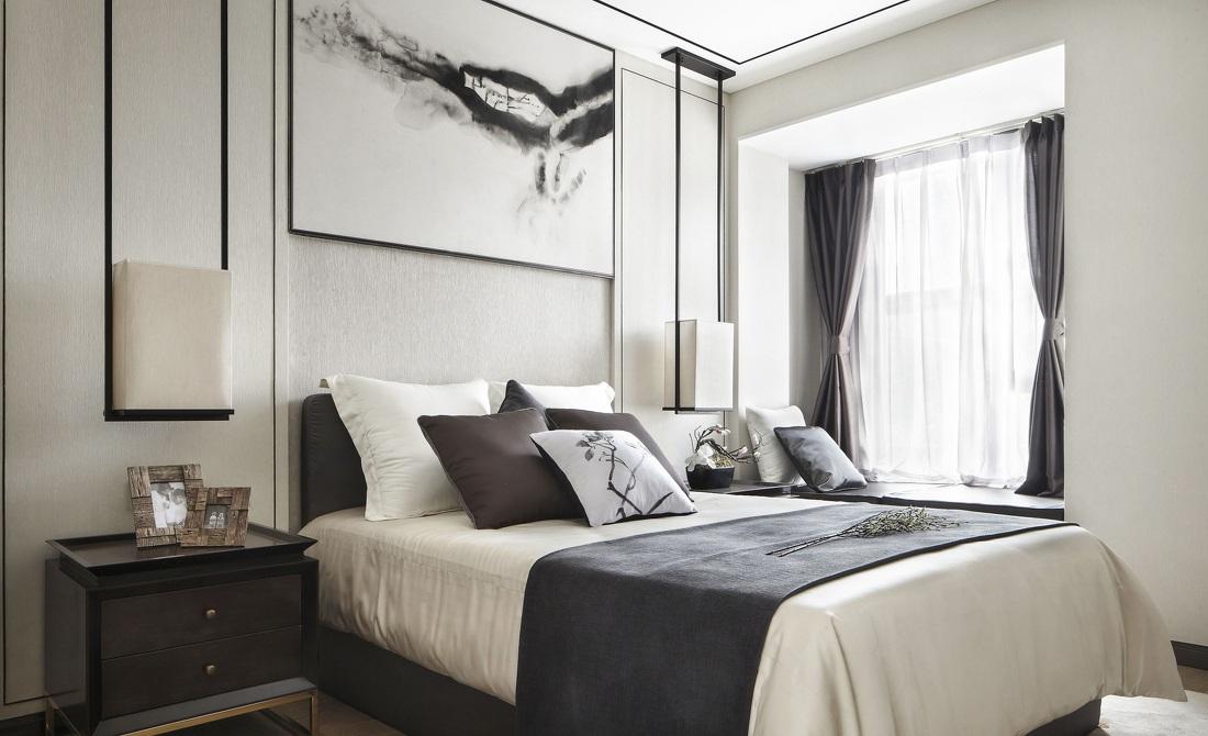 素雅时尚简约中式风格卧室软装效果图