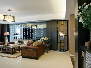 138平黑色儒雅新古典设计三居装修效果图片