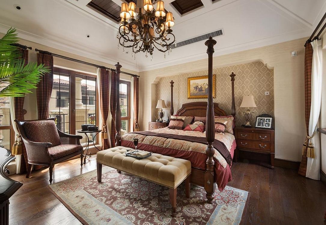 经典复古欧式卧室吊顶背景墙图片