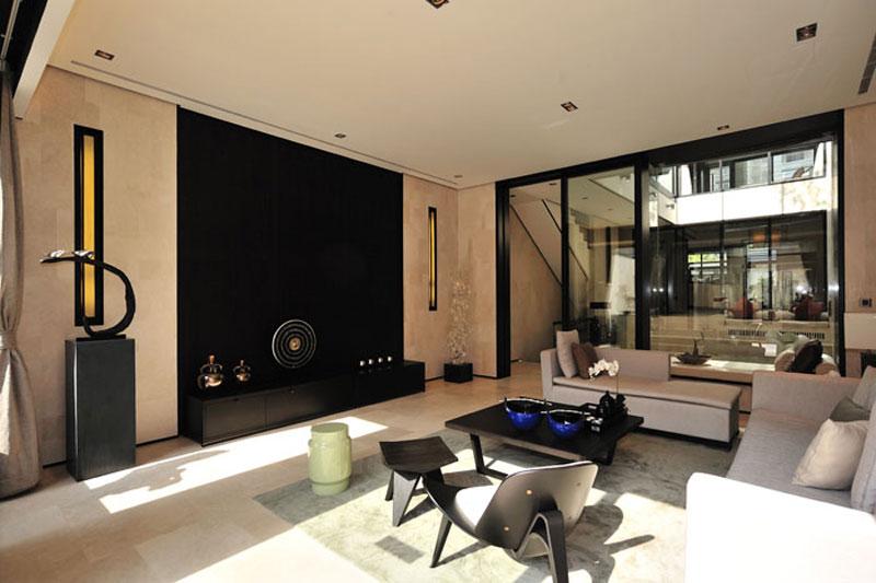 新古典风格客厅影视墙效果图
