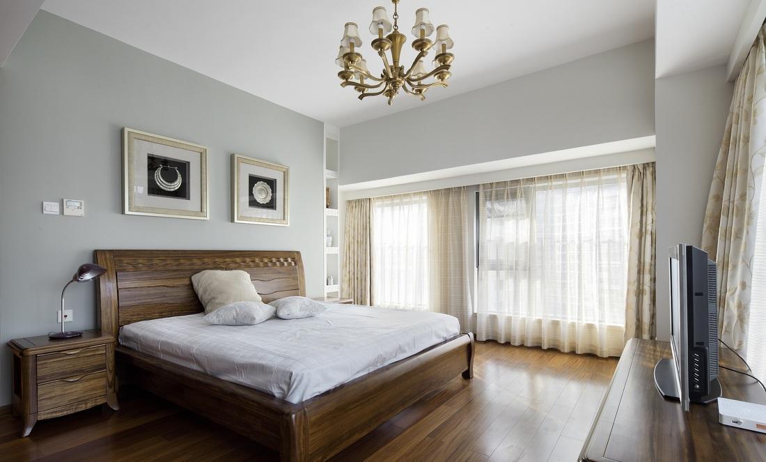 简约中式风格主卧室实木床搭配效果图