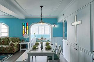 天蓝色地中海风格餐厅背景墙图片