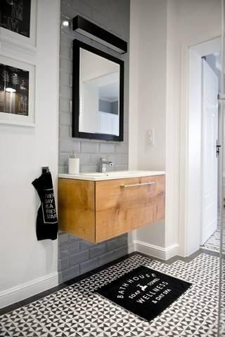 朴素灰色北欧风格卫生间浴室柜背景墙效果图