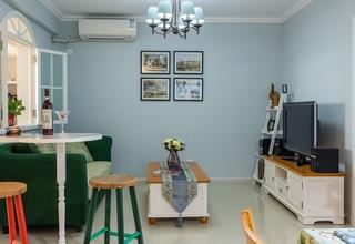 蓝色清新田园风格客厅照片墙装潢效果图