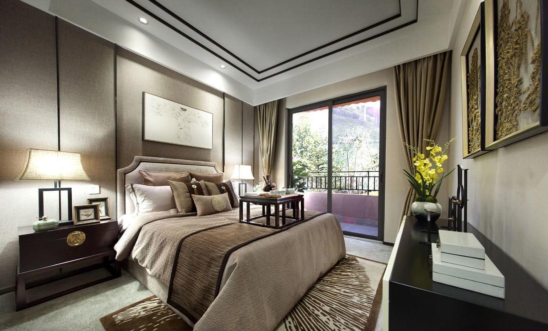 时尚中式现代混搭卧室背景墙效果图