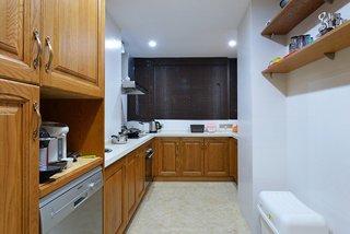 中式厨房实木L型橱柜效果图