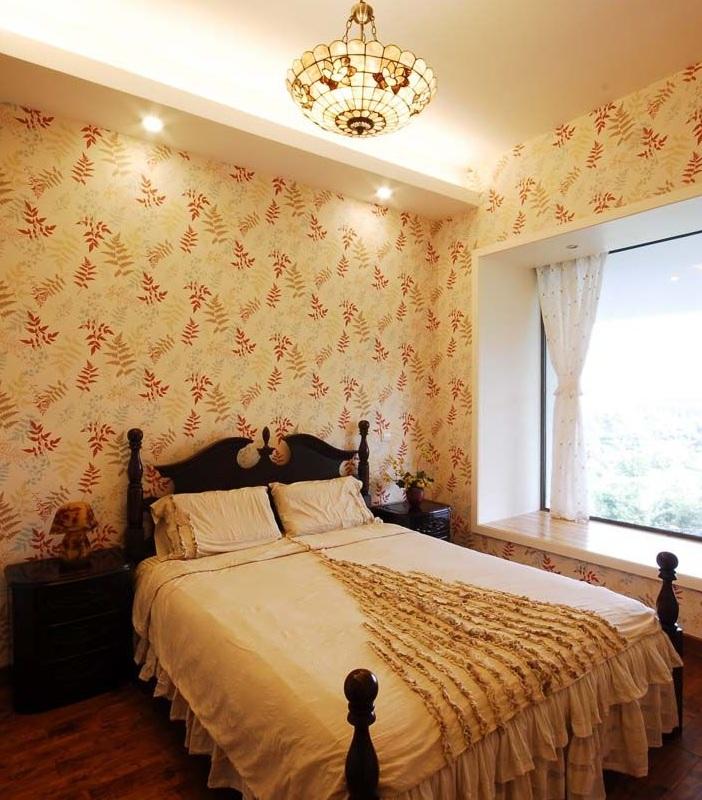 简约田园风格设计卧室墙纸装修效果图