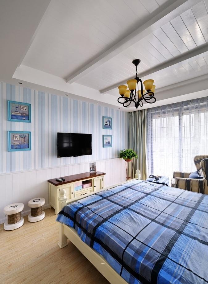 地中海风格卧室竖蓝色电视背景墙效果图