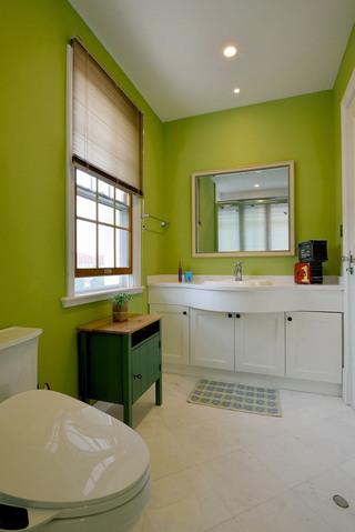 清新苹果绿美式卫生间墙面装修效果图