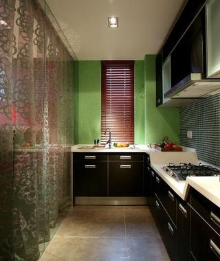 新中式現代混搭廚房黑色櫥柜效果圖