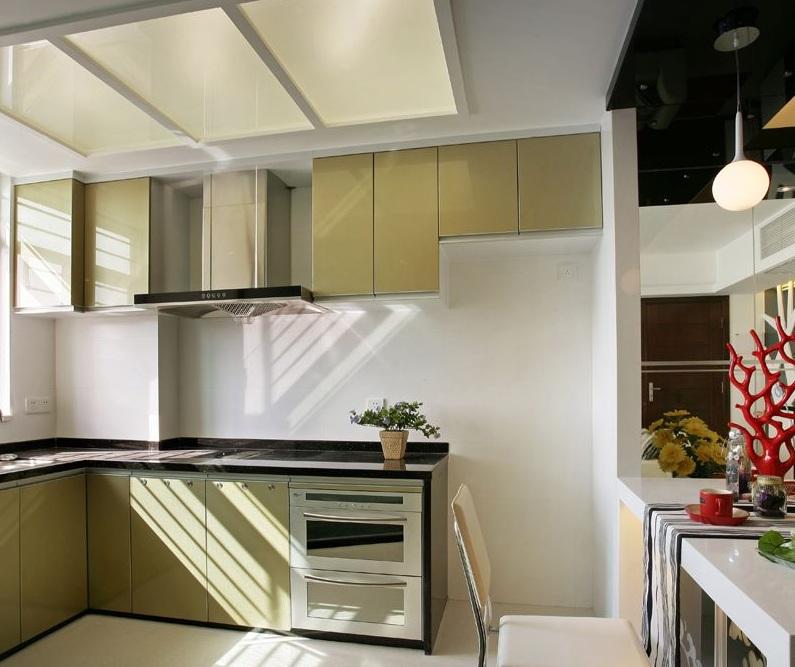 简洁时尚现代装修风格厨房玻璃吊顶效果图片