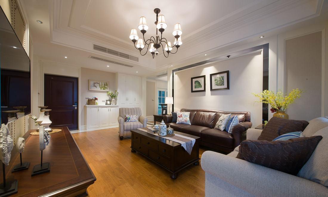 简易美式风格家居客厅整体效果图