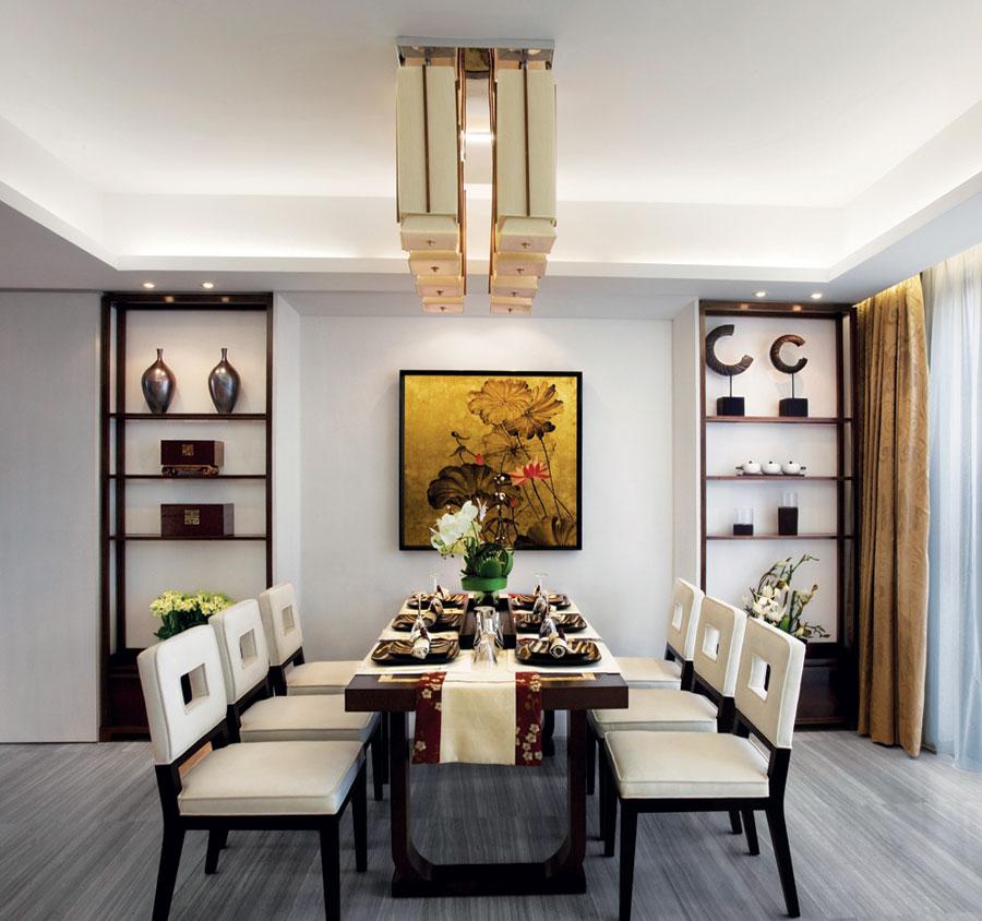 奢华典雅新中式餐厅博古架图片