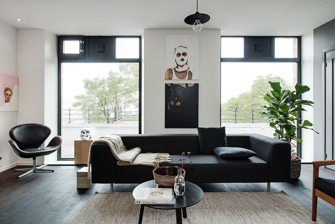 创意摩登北欧客厅黑色沙发装饰效果图
