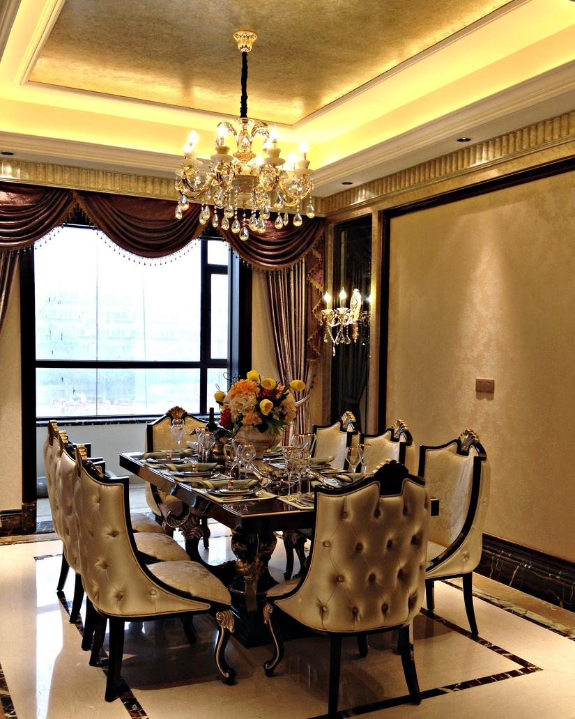 古典欧式奢华风餐厅水晶灯装饰效果图