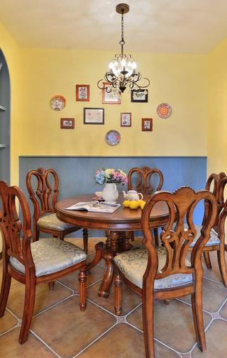 浪漫简朴欧式田园复式餐厅相片墙效果图