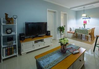 蓝色清新田园风格客厅背景墙装潢效果图