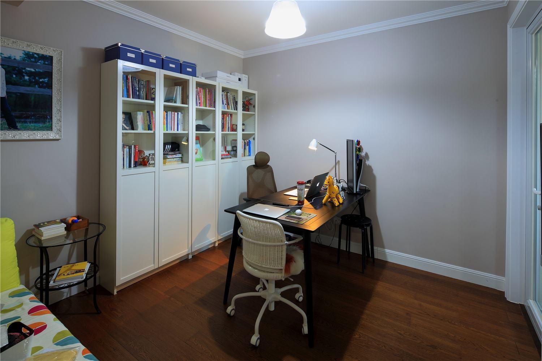 现代简约混搭书房书柜效果图