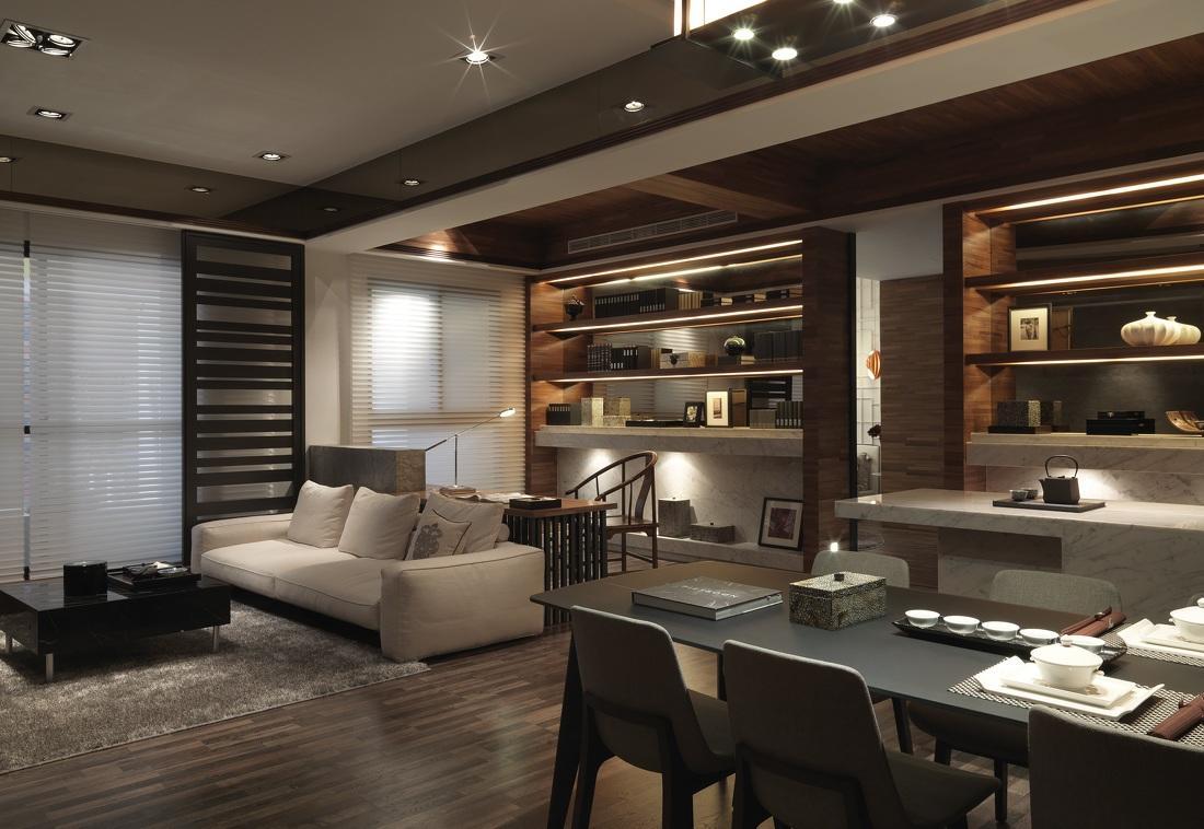 儒雅时尚现代中式客餐厅混搭效果图