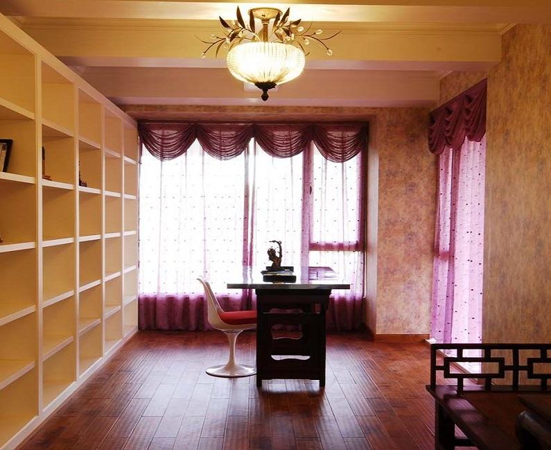 复古田园风书房粉色窗帘效果图