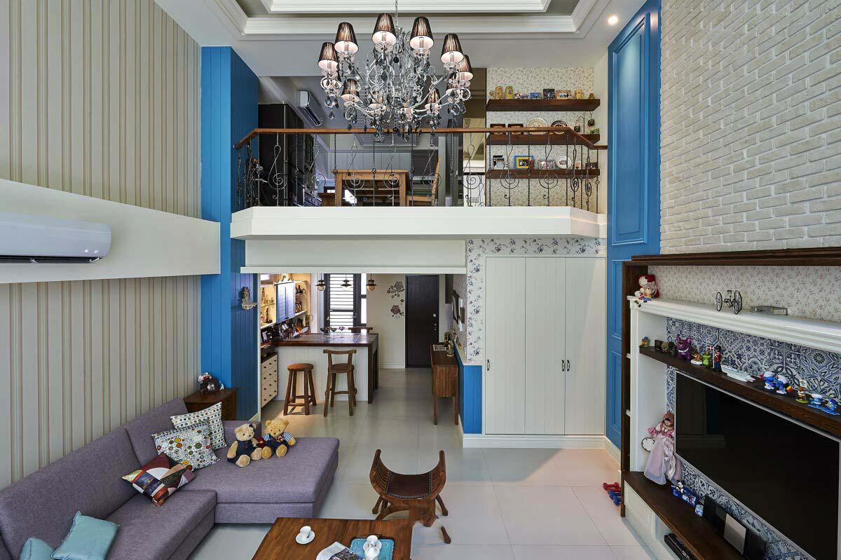 简约欧式田园风复式楼挑高客厅图片欣赏
