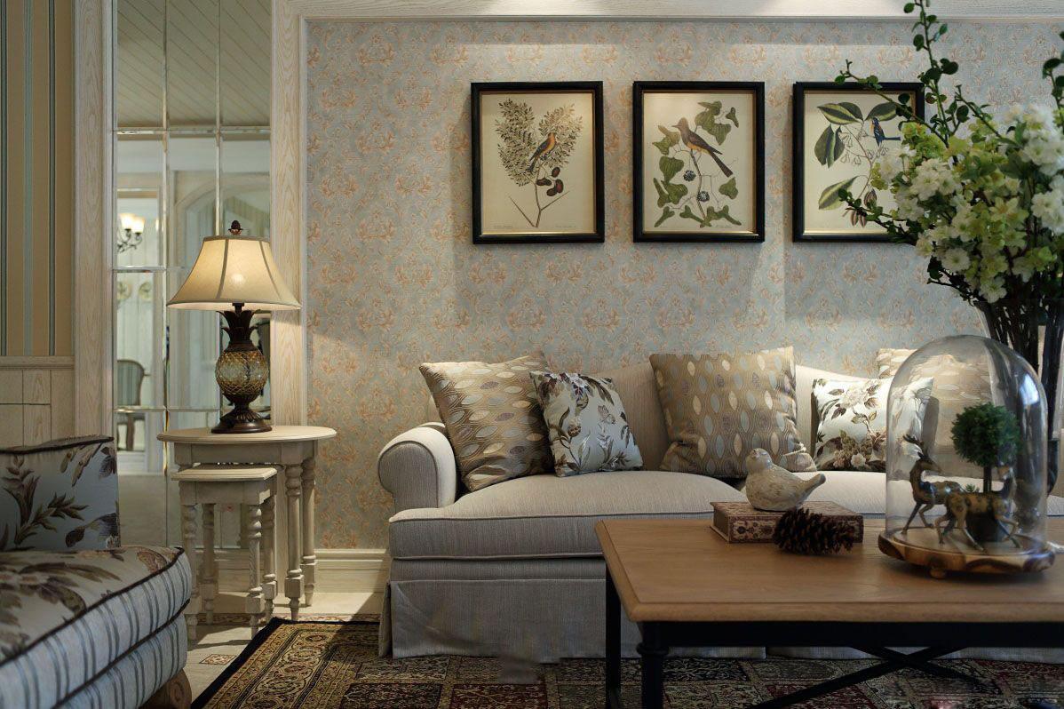 唯美简约美式风格客厅背景墙设计