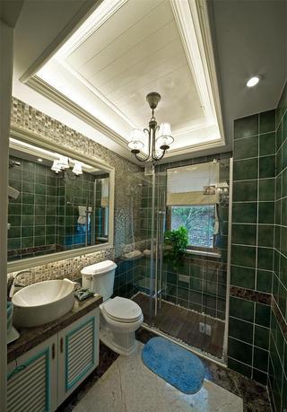 深绿色现代风格室内卫生间背景墙效果图片