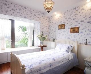 清新小船墙纸儿童房背景墙装修效果图片