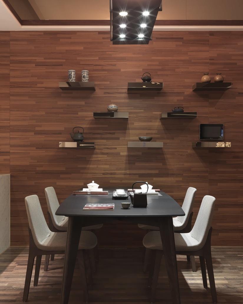 时尚简中式特色餐厅背景墙隔断效果图