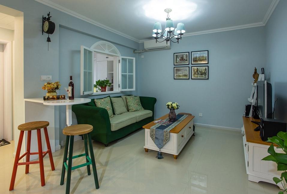 蓝色清新田园风格两室一厅室内装修欣赏图片