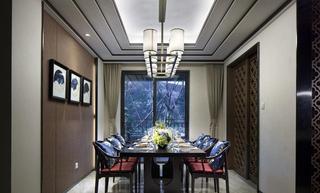 奢华新中式餐厅吊顶效果图