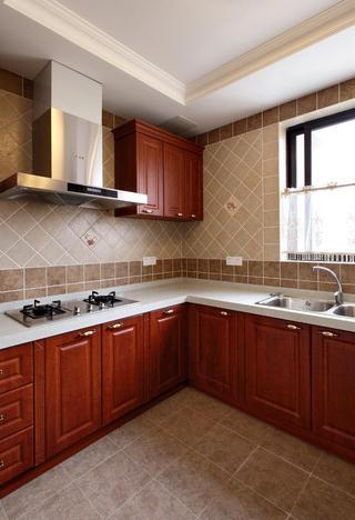 大气欧式复古厨房背景墙瓷砖斜铺效果图