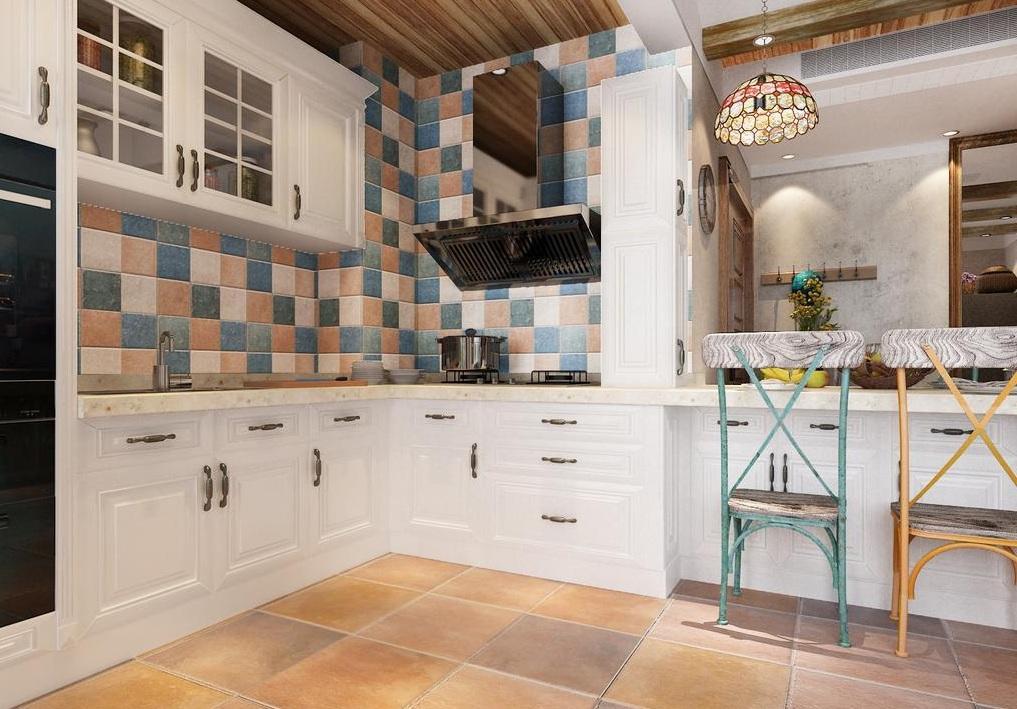 美式乡村风格厨房彩砖装修效果图片