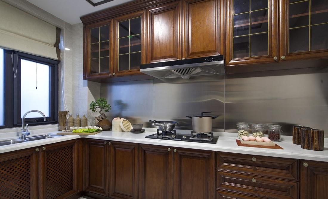 中式風廚房實木櫥柜效果圖