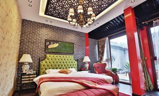 红色靓丽新中式风格卧室吊顶装修注册送300元现金老虎机
