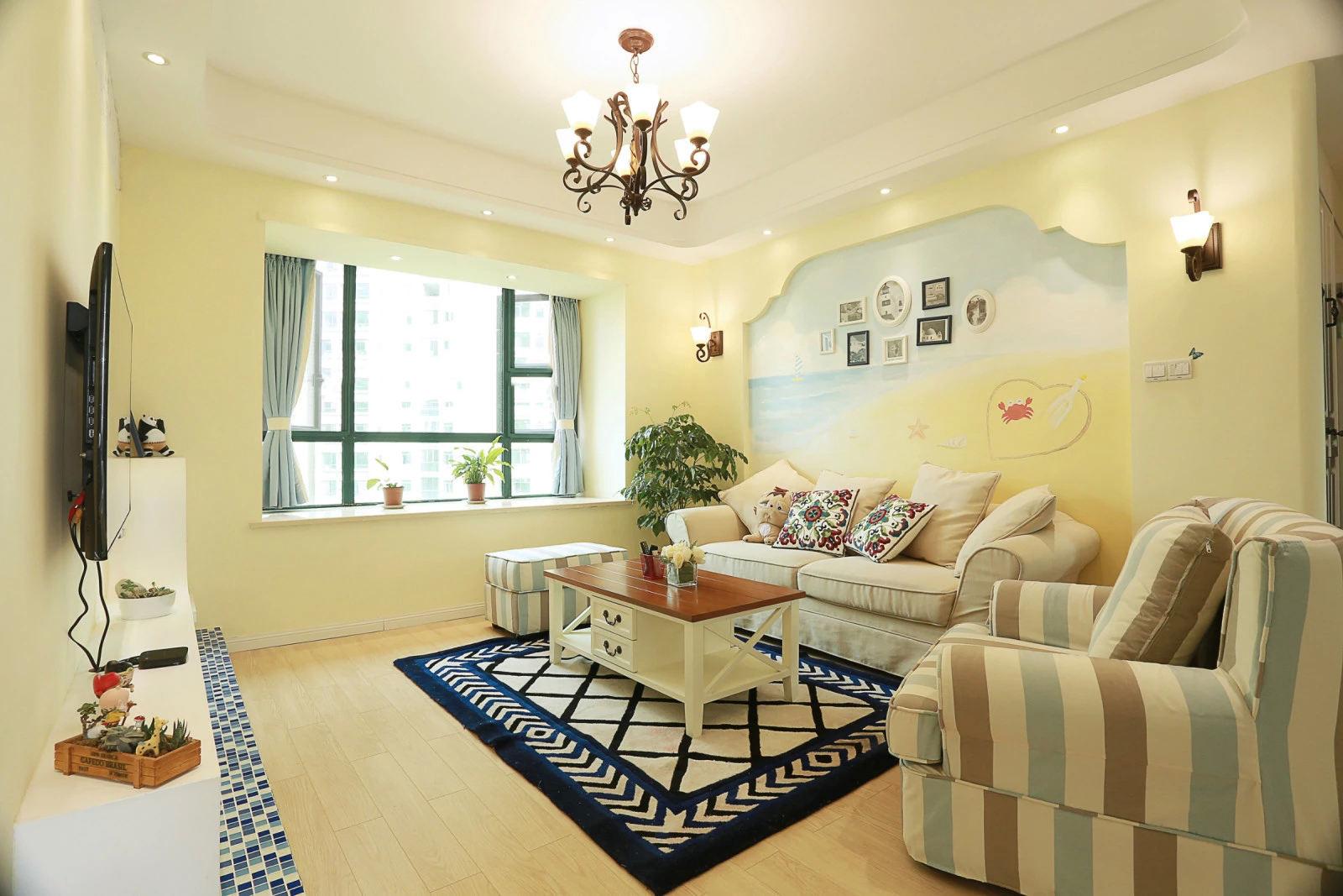 清新唯美简约美式客厅效果图片