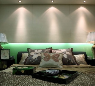 典雅新中式现代混搭卧室床头效果图