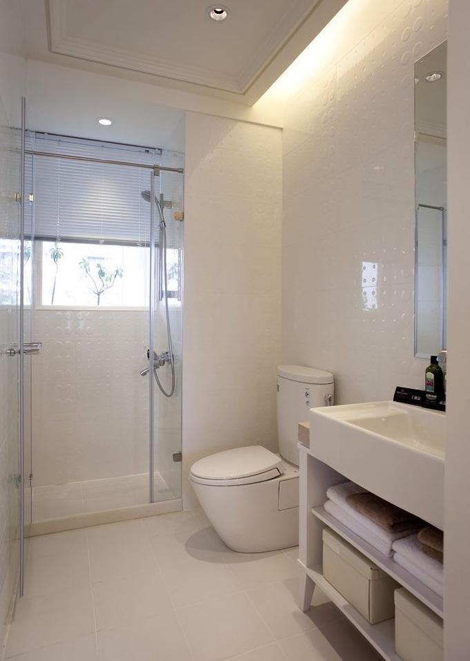 纯白时尚现代风格卫生间设计装潢效果图