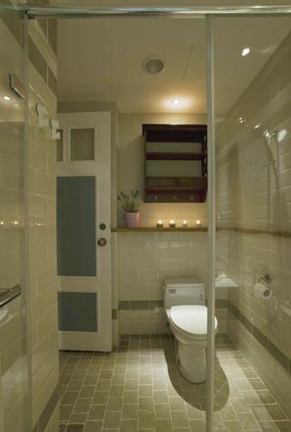 简朴田园风格室内卫生间收纳柜背景墙效果图