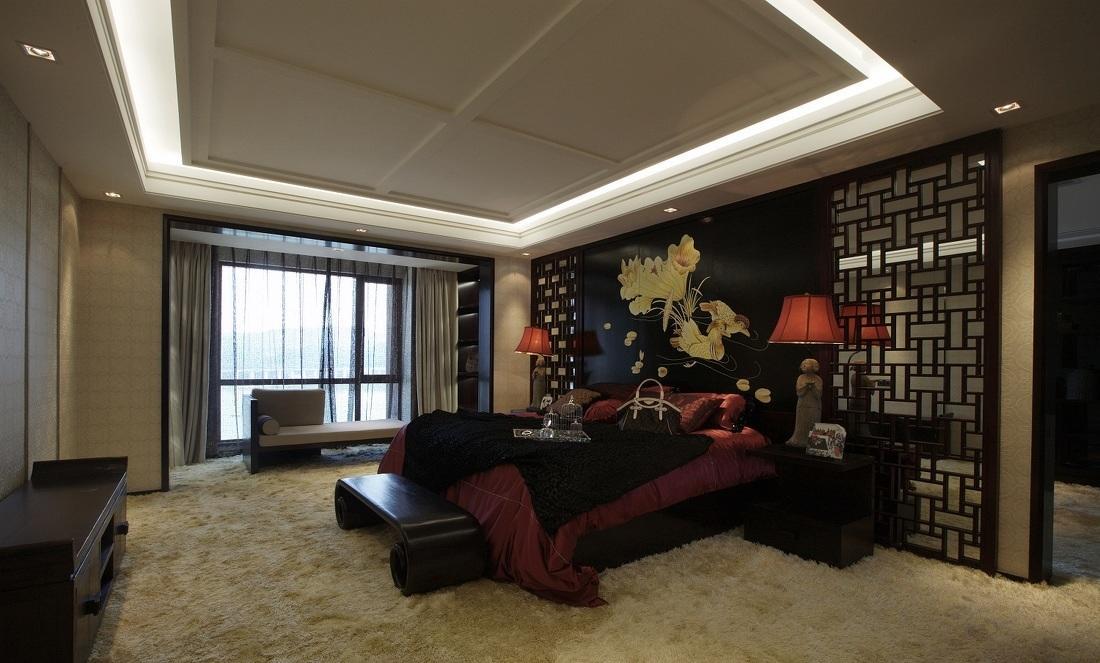 古香古色中式卧室黑色典雅背景墙