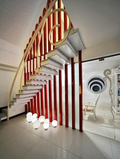 另类现代时尚室内楼梯红色隔断效果图片