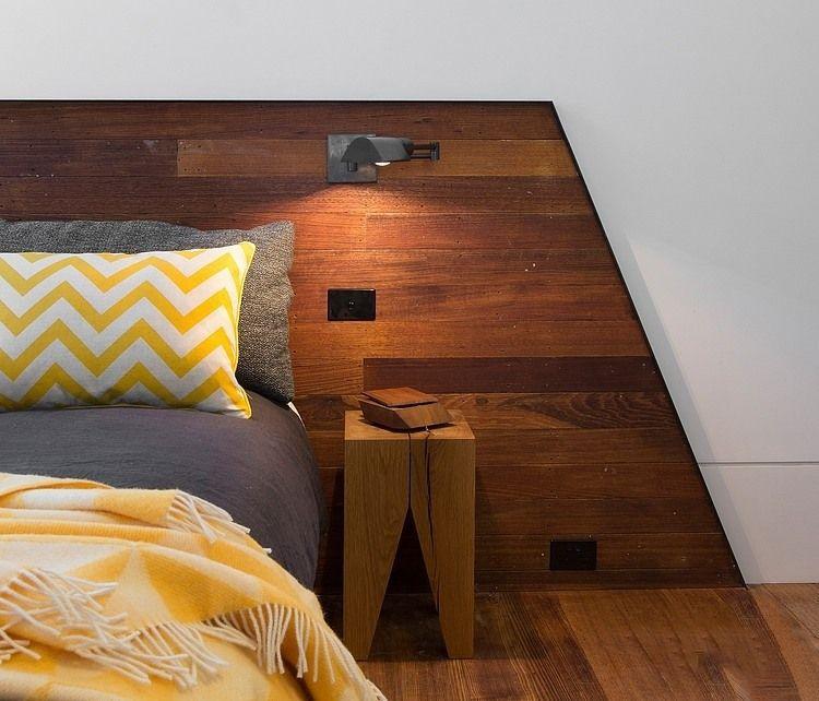 现代田园风卧室原木背景墙装饰图片欣赏