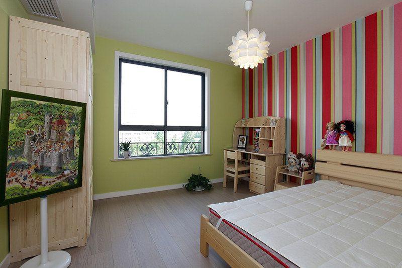 条纹简约活泼儿童房背景墙效果图片