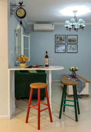 蓝色清新田园风格室内简易吧台设计效果图