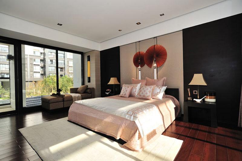 典雅新中式卧室背景墙效果图