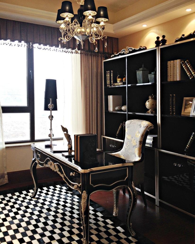 黑色古典欧式装修风格书房设计效果图