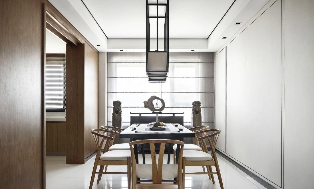 原木时尚简约中式风格餐厅设计装修效果图
