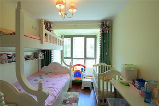 绿色简约儿童房双人床效果图