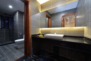 现代新中式混搭卫生间洗手台效果图