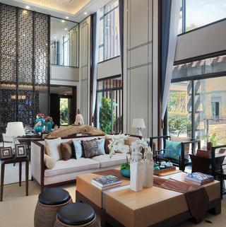 高贵新中式挑高客厅背景墙装潢设计